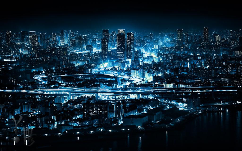 編集後の大阪コスモタワーからの夜景
